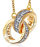 Pendant Necklace, YIY Beauteous I Love You Forever Double Ring Pendant Necklace Made with AAA Cubic Zirconia, Ideal with Luxury Box for Wife Girlfriend Women Lover (Color Gold)