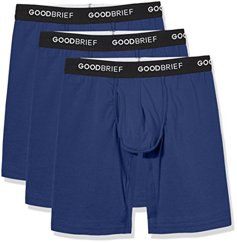 Good Brief Men's 3-Pack Cotton Stretch Long Leg Boxer Briefs X-Large Navy (Long Boxer)
