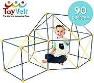 ToyVelt Fort Building Kits for Kids - 90-Piece Children's Crazy DIY Fort Building Toys Set for Indoor and