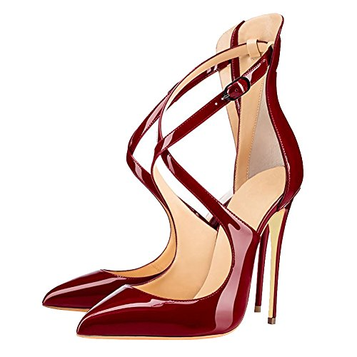 MERUMOTE - Zapatos de vestir de Material Sintético para mujer Burgund-Lack