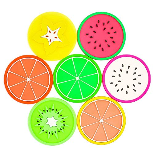 HansGo Fruit Coaster, 24PCS  Fruit Slice Silicone Coasters Non Slip Colorful Unique Coasters Heat Insulation Drink Cup Holder for Table Protect Kitchen Bar