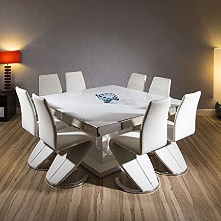 Quatropi Grande Table De Salle A Manger Carre Blanc Brillant 8