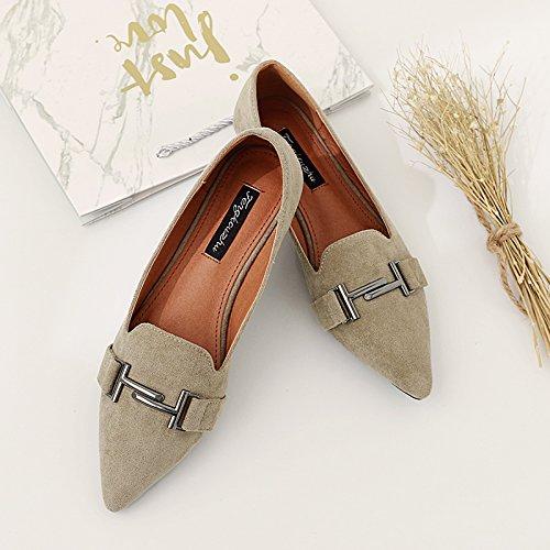 Plana Qiqi Zapatos Punta de Zapatos luz de de Planas única Hembra Decorado con Caqui Dama Xue Mujer Zapatos Metal qIawdnxI