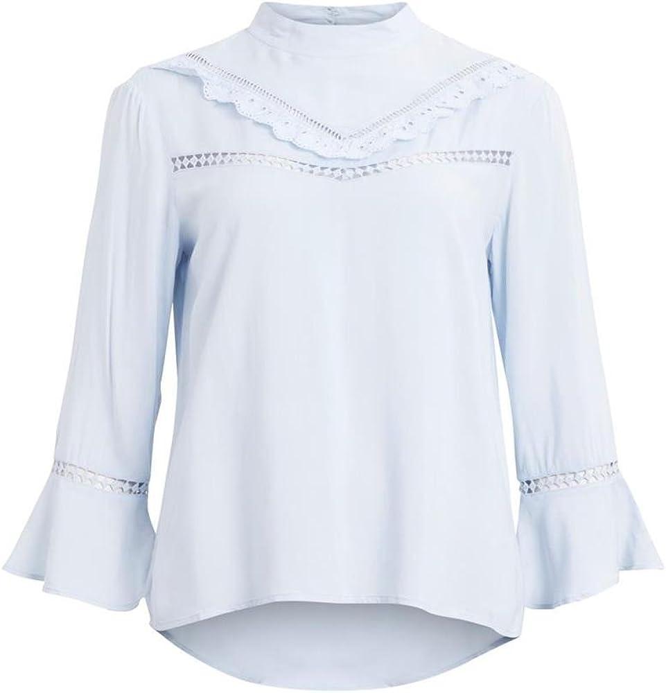Vila Vineva 3/4 Sleeve Blusa Azul Celeste Mujer S: Amazon.es: Ropa y accesorios