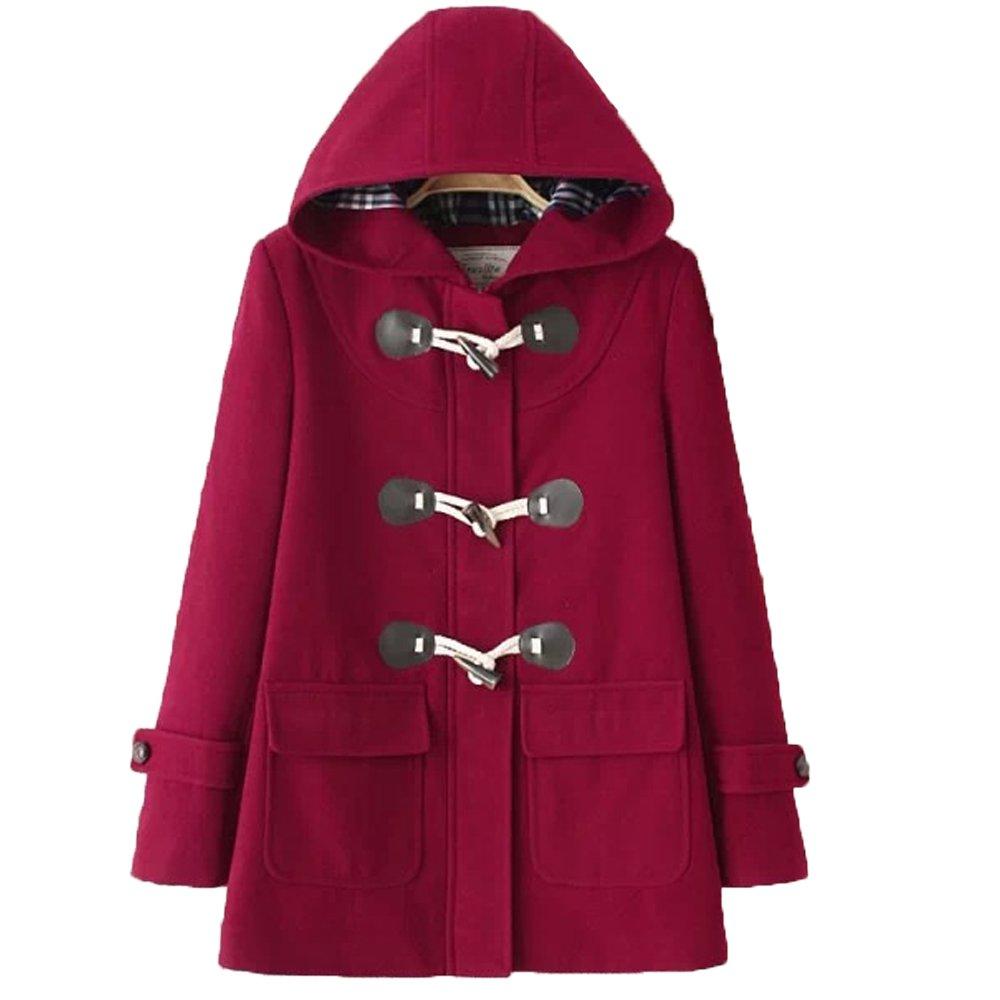 Imagine Women's Hoodie Fleece Jacket Duffle Style Toggle Wool Coat Pea Coat WR-XL