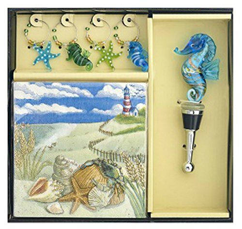 Seahorse Coastal Bottle Stopper Matching Wine Charms and Napkins Hostess ()