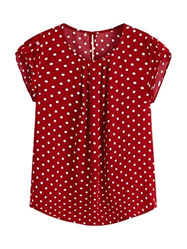 Milumia Women's Polka Dot Chiffon Cap Sleeve Work Blouse Top Red