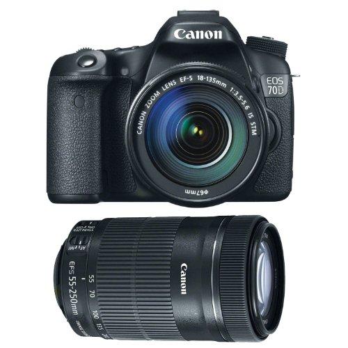 Canon EOS 70D EFS 18-135mm IS STM Kit + Canon EF-S 55-250mm f/4-5.6 IS STM
