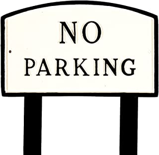 product image for Montague Metal Products SP-8L-WB-LS Large White and Black No Parking Arch Statement Plaque with 2 23-Inch Lawn Stakes