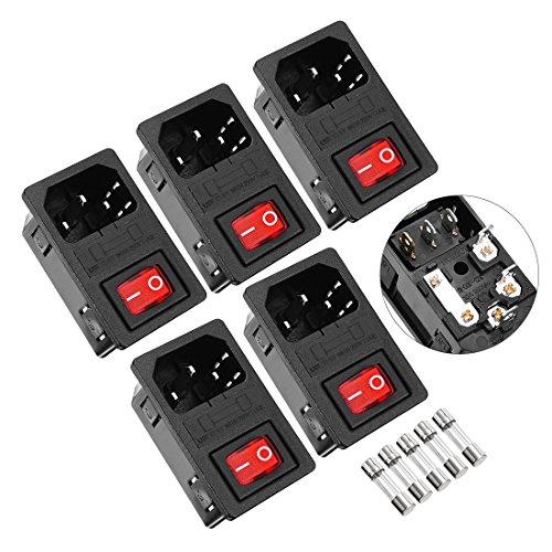 uxcell 5Pcs IEC320 C14 Power Inlet Red Light SPST Rocker Switch AC 250V 10A
