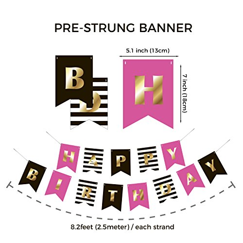 Premium Happy Birthday Banner Bunting Garland | Gold Pink Black White | Party Decorations | Chic Kate Spade Inspired | First, 10th, 18th, 21st, 30th, 40th, 50th, 60th etc | for Girls, Women - Birthday Stripes