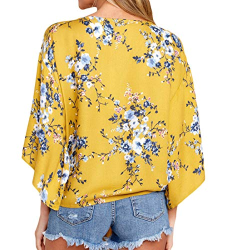 3 Col Chemisiers T Blouses Tops Femmes Tee Haut Shirt Casual Imprime 4 V t JackenLOVE Manches Fashion Jaune q7nwv0px