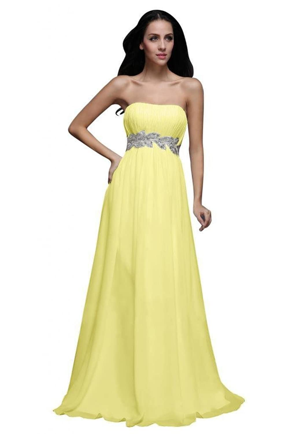 Dearta Women's A-Line Strapless Sleeveless Sweep Train Chiffon Prom Dresses