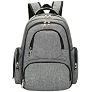 El-fmly Baby Diaper Backpack With Insulated Pockets / Large Size Water-resistant Baby Bag / Multi-functional Travel Knapsack Include Changing Pad - Grey