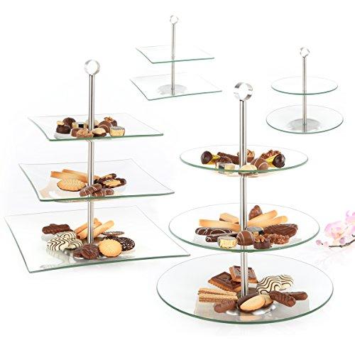 Gräfenstayn Etagere aus Glas 2 oder 3 stufig in zwei verschiedenen Designs - rund und eckig - Obstschale Servierplatte Tortenplatte (2-Stöckig Eckig)