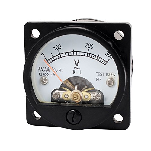 uxcell AC 0-300V Fine Tuning Dial Panel Analog Voltage Meter Voltmeter Black Class 2.5