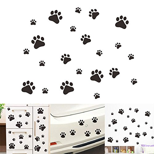 VintageBee Dog Paw Prints Sticker Dog Pup Removable Vinyl Wall Sticker Decoration Décor For Children Nursery Room Home Décor Art Mural DIY(20 PACK]()