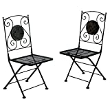 Furniture of America Solaro Mosaic Design Outdoor Chair, Black, Set of 2
