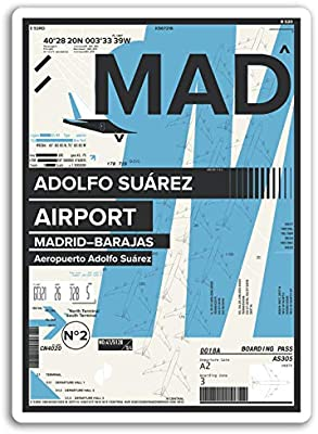 2 x 10 cm MAD Adolfo Suárez Aeropuerto pegatinas de vinilo - Madrid, España Etiqueta # 17419 (10 cm de altura): Amazon.es: Hogar