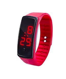 MOSTFA Children Watch LED Digital Display Bracelet Students Silica Gel Outdoor Sports Simple Watch Durable More Comfortable Growing Gift