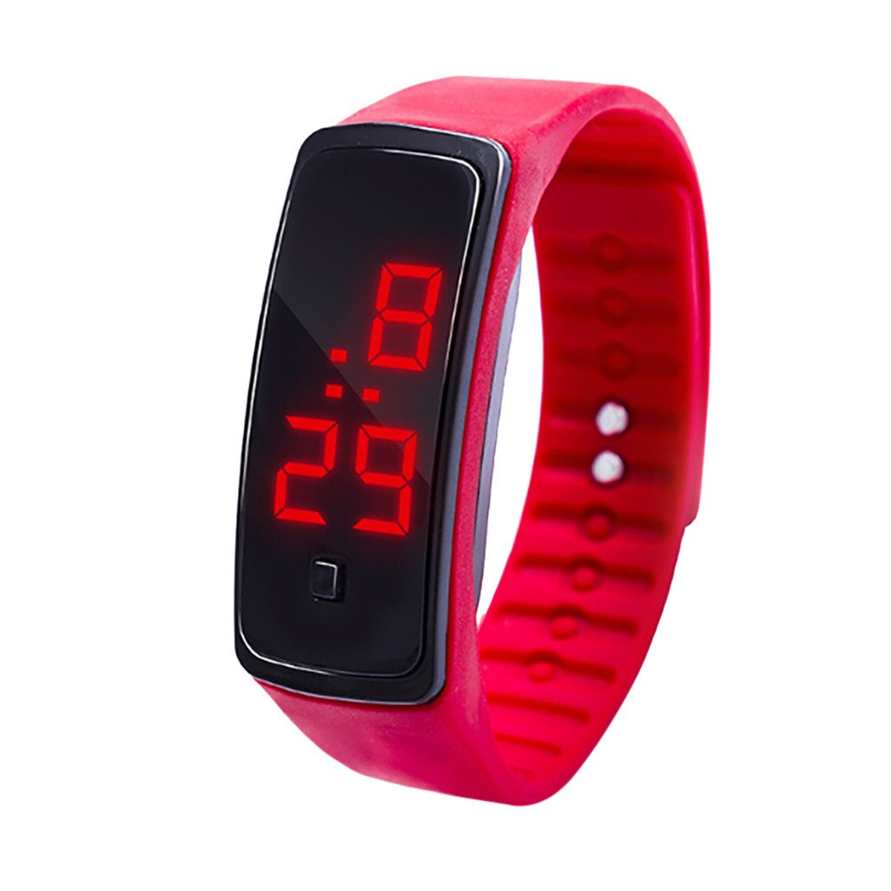 NRUTUP LED Digital Display Bracelet Watch Children's Students Silica Gel Sports Watch Hot Sales(Red,Free Size)