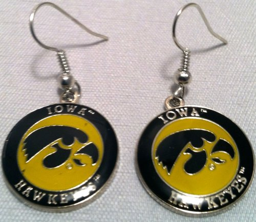 Iowa Hawkeyes Circle Style Dangle Earrings ()