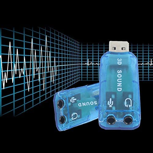 Portable Compact 3D Audio Card USB 1.1 Mic//Speaker Adapter 7.1 CH Surround Sound for PC Computer Laptop Blue