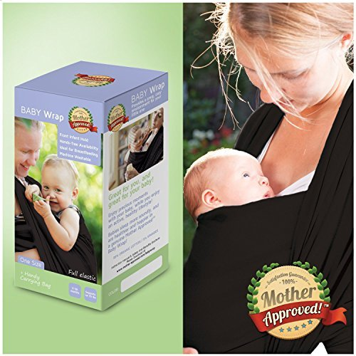 Mother Approved Baby Wrap Carrier and Sling For Newborns and Breastfeeding Moms Black