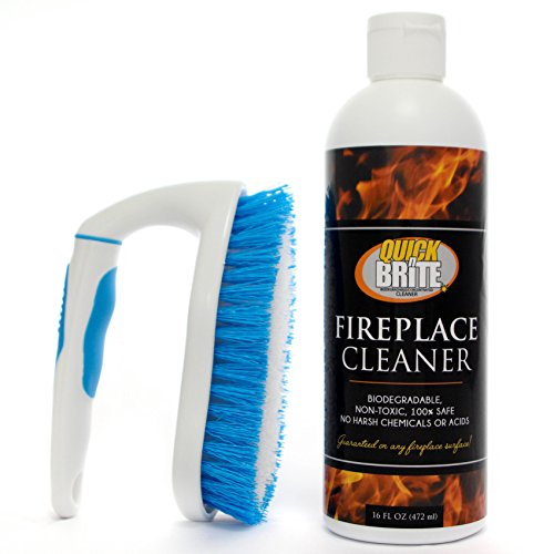 Quick N Brite 51030 16 Oz Fireplace Gel Kit with Scrub Brush (Stove Wood Hearth For Brick)