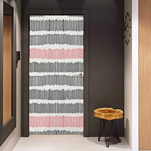 Toilet Door Sticker Abstract Hand Drawn Short Vertical Lines Retro Horizontal Stripes Hipster Doodle Glass Film for Home Office W31 x H79 Black Coral White