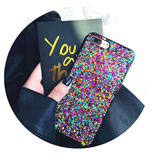 Crispyfish Glitter Rainbow Soft TPU Silicone Case for iPhone 6 6s 7 8 Plus Shiny Cover Cases for iPhone X XR XS MAX,Gold,for Xs max ()