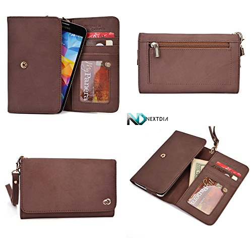 smartphone-genuine-leather-wallet-wristlet-for-htc-zara-mini-chocolate-brown-with-credit-card-slots-