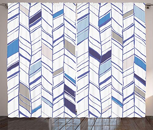 (Ambesonne Chevron Curtains, Tribal Zigzag Lines Pattern in Various Shades Geometric Sketch, Living Room Bedroom Window Drapes 2 Panel Set, 108 W X 96 L Inches, Taupe White Violet and Blue )