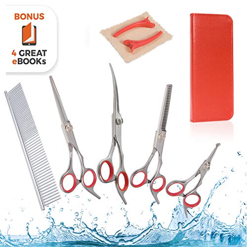 AEXYA Premium Dog Groom Hair Scissors Kit Pet Grooming Shears Set Stainless Steel Straight, thinning and Curved Sharp Shears for Small or Large Dogs, Cats or Other Pets (4 Scissors Red Case)
