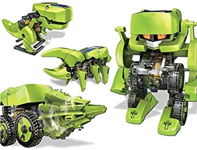 iLoonger® T4 Transforming Solar Robot Kit- Robot Insect T-rex Drill Vehicle
