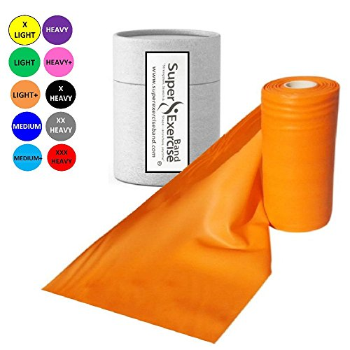 Super Exercise Band Orange Light+ Strength Latex Free Resistance Band material in 8 Yard (25 ft.) Bulk Rolls. Home Gym Training For Physical Therapy, Pilates, Stretching, And Yoga Workouts.