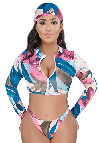 (WearFun Women Sexy Bra Crop Tops Short Bodycon Pants Jumpsuits with Scarf 3 Piece)