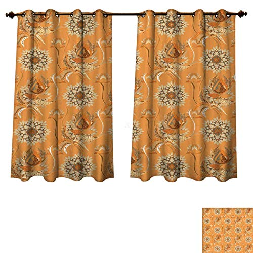 RuppertTextile Tan and Brown Bedroom Thermal Blackout Curtains Ornamental Ottoman Garden Pattern with Tulips and Blossoming Flowers Drapes for Living Room Orange Tan Brown W63 x L63 inch