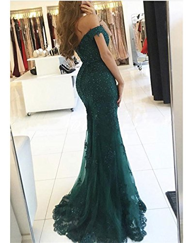 Grey Off Dresses DYS Formal Lace Evening Crystals Prom Mermaid Shoulder Dress Women's 6nfCqnwPR
