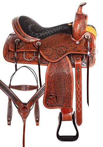 AceRugs Horse Saddle TACK Set Western Pleasure Trail Cowboy Ranch Work Premium Tooled Leather (Antique Oil, 17)