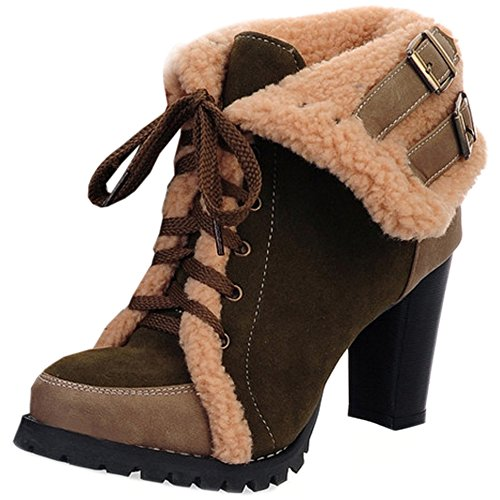 TAOFFEN Women Fashion Lace Up Ankle Martin Boots Block High Heels Bootie Shoes 1201 Dark Green