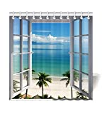 HommomH 72'' x 72'' Shower Curtain With Hooks Bathroom Anti-Bacterial Waterproof Beach Window