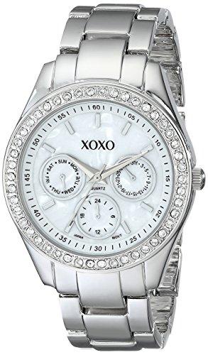 XOXO Womens XO5301A Rhinestone-Accented Silver-Tone Bracelet Watch
