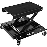 Pyle Motorcycle Scissor Jack Lift w/ Dolly - Portable EZ Bike Rack, Front Rear Center Tire Wheel Engine Stand w/ Wheels - Low Profile Manual Flat Floor Hoist Table for Cruiser, Dirt Bikes - PLMOTJC11