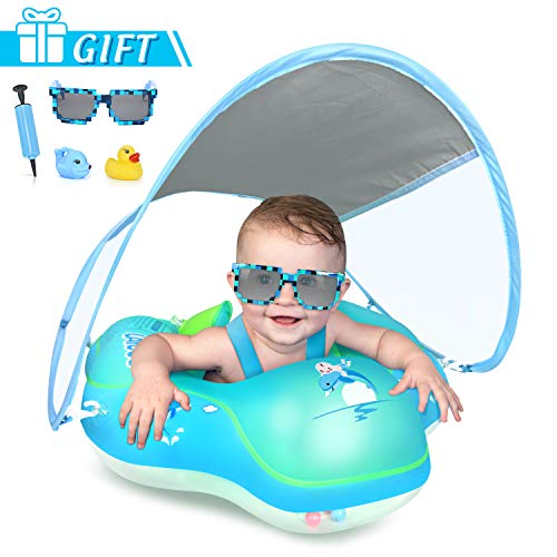 🥇 LAYCOL Baby Swimming Float with UPF50+ Sun Canopy Baby Floats for Pool No Flip Overbaby Pool for Baby Age of 3-36 Months