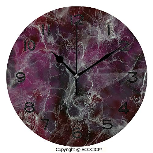 SCOCICI Print Round Wall Clock, 10 Inch Psychedelic Stylized Artistic Dark Colors Cloudy Onyx Stone Surface Print Decorative Quiet Desk Clock for Home,Office,School