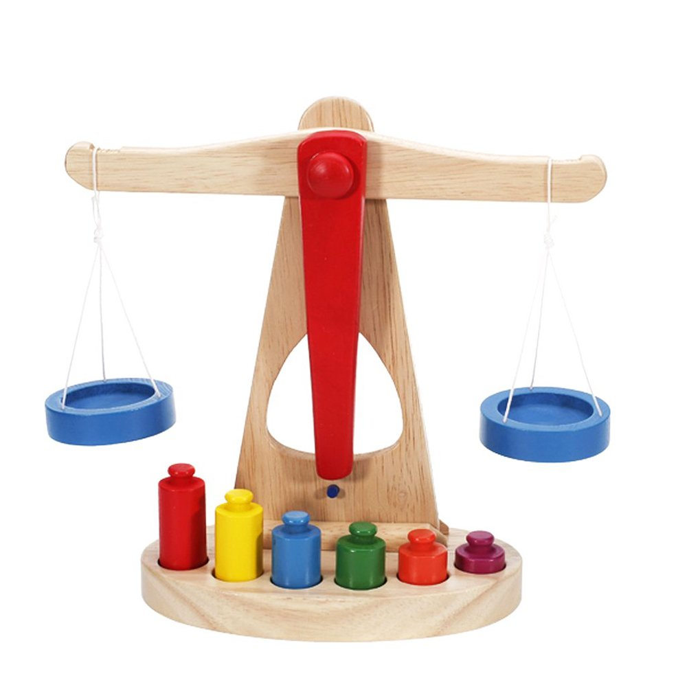 Balance Scale with Weight for Children Kitchen Pretend Play Basic Life Skills Toys Beautyer
