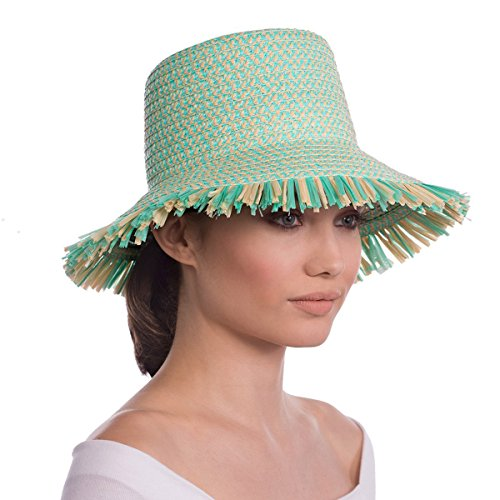Eric Javits Luxury Fashion Designer Women's Headwear Hat - Tiki Bucket - Mint Mix by Eric Javits