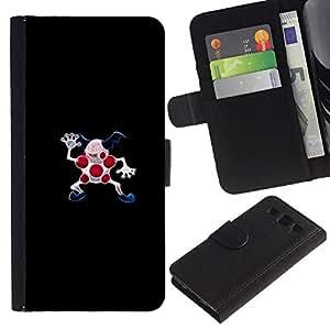 LECELL--Cuero de la tarjeta la carpeta del tirón Smartphone Slots Protección Holder For Samsung Galaxy S3 III I9300 -- Meter Monster puntos rojos --
