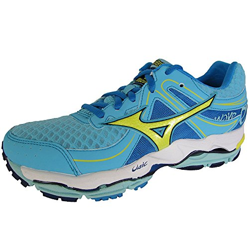 Mizuno Womens Wave Enigma 3 Running Sneaker Shoes, Blue/Yellow/Navy, US 6 ()